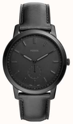 Fossil Mens die minimalistische schwarze Lederbanduhr FS5447