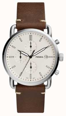 Fossil Herren Pendler Uhr weiß Chronograph braun Lederband FS5402