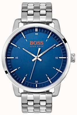Hugo Boss Orange Stockholm Herren blaues Zifferblatt Silber Edelstahlarmband 1550076