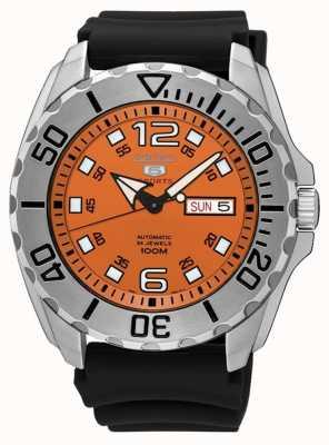 Seiko 5 Herren Sport Datum & Tag Display orange Zifferblatt schwarz Gummi SRPB39K1
