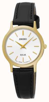 Seiko Solarweißes Zifferblatt Gelbgold Edelstahl schwarzes Leder SUP300P1