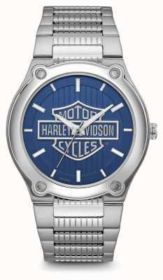 Harley Davidson Logo print blaues Zifferblatt Edelstahlarmband 76A159