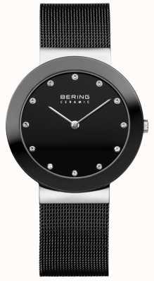 Bering Crystal Set Zifferblatt Keramik Lünette schwarz Mesh-Armband 11435-102