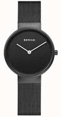 Bering Klassisches schwarzes, mattschwarzes, ip-beschichtetes Mesh-Armband 14531-122
