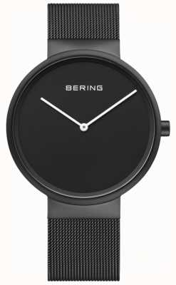 Bering Men's classic schwarzes Zifferblatt schwarz IP-beschichtetes Mesh-Armband 14539-122