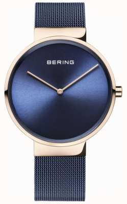 Bering Klassisches blaues Zifferblatt Roségold Gehäuse blau IP-beschichtetes Mesh-Armband 14539-367