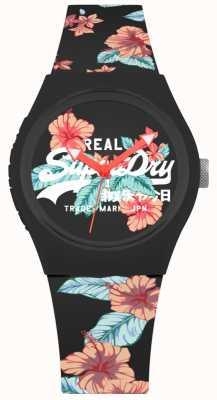 Superdry Urbanes schwarzes Blumendruck-Silikonband der Frauen SYL160BO