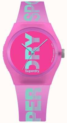 Superdry Der städtische rosa Kasten der Frauen cyan-blauer Logodruck SYL189PN