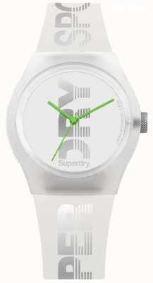 Superdry Weißes Silikon-Etui für Damen mit hellgrünen Zeigern SYL189WE