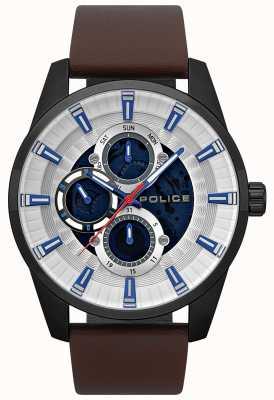 Police Herren Stamford Day & Date Display gemustert Zifferblatt braun Armband 15409JSB/04