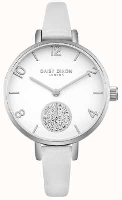 Daisy Dixon Women's Alice Kristall Set Subdial weißes Lederband DD075WS