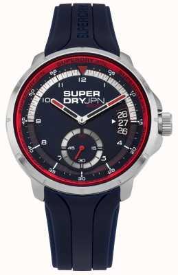 Superdry Datumsanzeige für Herren blaues Zifferblatt blau Silikonband SYG217U