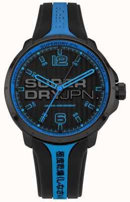 Superdry Männer kyoto schwarz und blau Silikonband SYG216BU