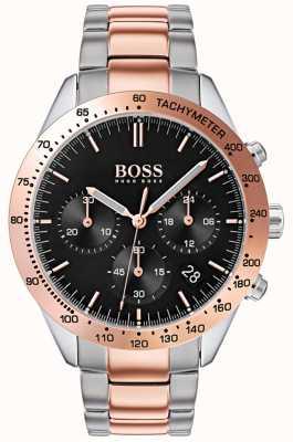 Boss Herren Talent schwarzes Zifferblatt Roségold & Silber zweifarbiges Armband 1513584