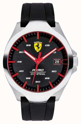 Scuderia Ferrari Herren Aero Datumsanzeige schwarzes Zifferblatt Silikonband 0830506