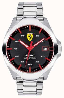 Scuderia Ferrari Herren Aero Date Display schwarzes Zifferblatt Edelstahl Armband 0830507