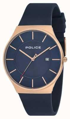 Police Mens New Horizon Watch Silikonband blau 15045JBCR/03P