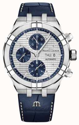 Maurice Lacroix Aikon Automatik Chronograph blau Lederband Uhr AI6038-SS001-131-1