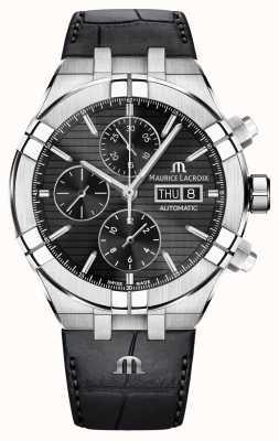 Maurice Lacroix Aikon Automatik Chronograph schwarz Lederband Uhr AI6038-SS001-330-1