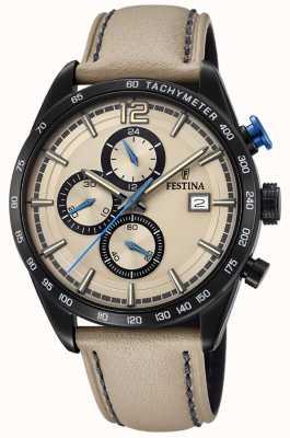 Festina Herren Sport Chronograph Creme Lederband Creme Zifferblatt F20344/1