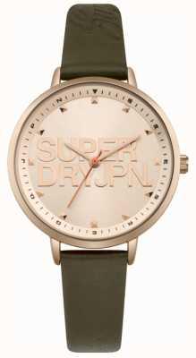 Superdry Damen ascot luxe grün Lederband Roségold Zifferblatt SYL157NRG