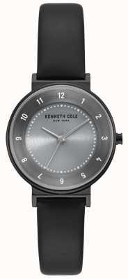 Kenneth Cole Klassische graue Zifferblatt schwarz Lederband Uhr KC50075001