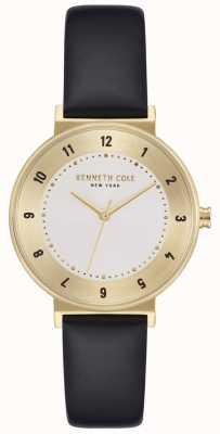 Kenneth Cole Klassische silberne Lederarmbanduhr für Damen KC50075002