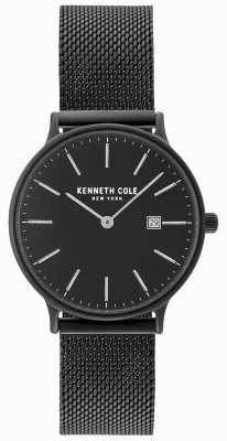 Kenneth Cole Damen schwarzes Gehäuse und Zifferblatt mit Datumsanzeige und schwarzem Netz KC15057004