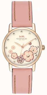 Coach Womens Grand-Pink-Lederband Creme floral Zifferblatt 14503060