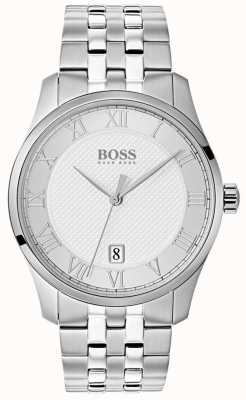 Hugo Boss Mens Master Edelstahl Silber Zifferblatt Uhr 1513589