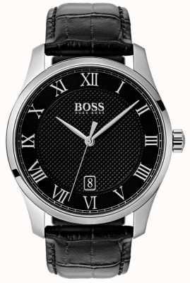 Boss Herren Master schwarzes Zifferblatt schwarze Lederuhr 1513585