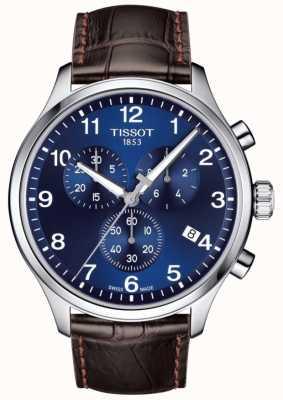 Tissot Herren T-Sport XL Chronograph blaues Zifferblatt braunes Lederarmband T1166171604700