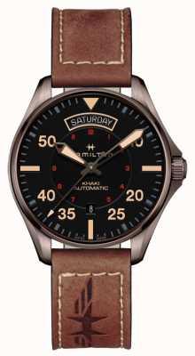 Hamilton Khaki Pilot Day Date Auto schwarzes Zifferblatt braunes Leder H64605531