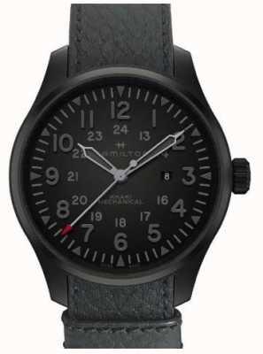 Hamilton Khaki Feld mechanisch 50mm schwarzes Zifferblatt schwarz Lünette Leder H69809730