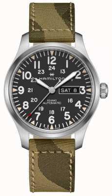 Hamilton Khaki Feld automatische Tag Datum Leinwand Camo Strap H70535031