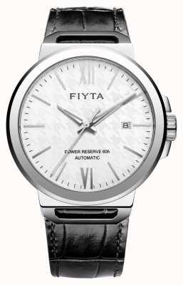FIYTA Solo Automatik schwarzes Leder weißes Zifferblatt Saphir GA852000.WWB