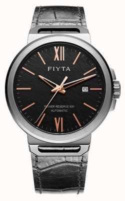 FIYTA Solo Automatik schwarz Leder schwarzes Zifferblatt Saphir GA852000.BBB