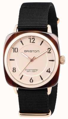 Briston Clubmaster schickes schwarzes Armband mit goldfarbenem Zifferblatt 18536.PRA.T.6.NB