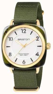 Briston Clubmaster schickes grünes Band weißes Zifferblatt 18536.PYA.TG.2.NGA