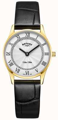 Rotary Ultra schlanke schwarze Ledermutter aus Peal-Zifferblatt LS08303/01