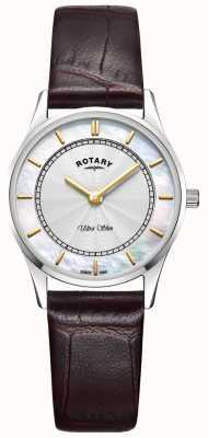 Rotary Ultra schlanke braune Ledermutter aus Peal-Zifferblatt LS08300/02