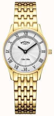 Rotary Ultra schlankes goldfarbenes Armband mit weißem Zifferblatt LB08303/01