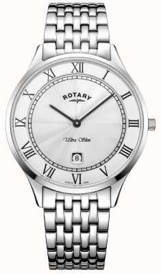 Rotary Ultraleichte, weiße Herrenuhr aus Edelstahl GB08300/01