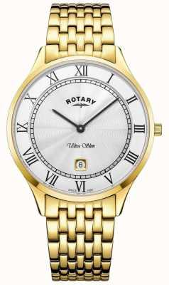 Rotary Herren ultra dünne weiße Zifferblatt goldfarbene Edelstahluhr GB08303/01