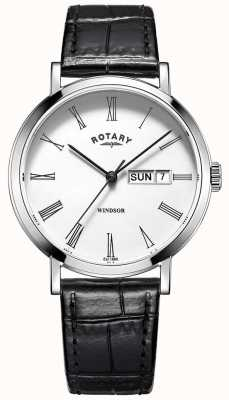Rotary Herren Windsor oder schwarzes Lederarmband Uhr GS05300/01