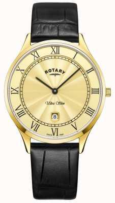 Rotary Ultraleichte schwarze Lederarmbanduhr für Herren GS08303/03
