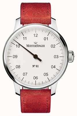 MeisterSinger Nr. 1 40 mm und Wunde sellita Veloursleder roten Riemen DM301