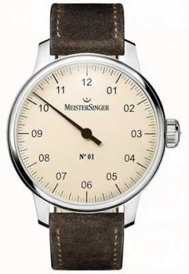 MeisterSinger Nr. 1 40 mm und Wunde sellita Wildleder braun Gurt DM303
