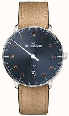 MeisterSinger Neo automatische Stahl blau Zifferblatt Wildleder Cognac Gurt NE917G