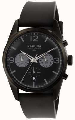 Kahuna Mens schwarzes Chronograph Zifferblatt schwarzes Kautschukarmband KCS-0010G